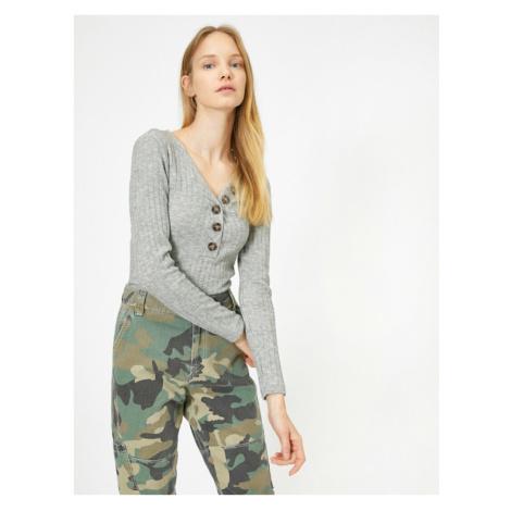 Koton Women Gray Button Detailed Sweater