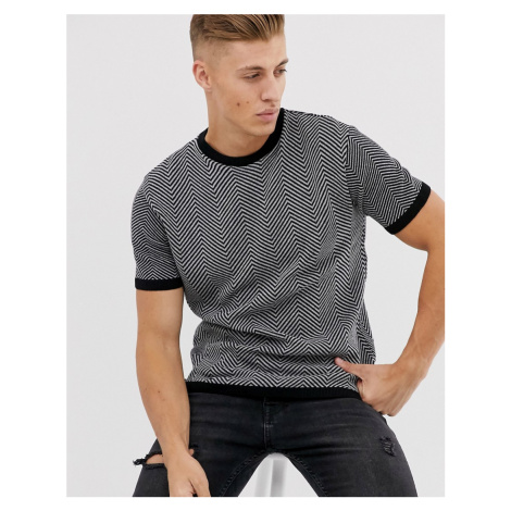 River Island knitted t-shirt in black & white