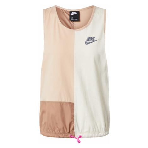 Nike Sportswear Top brązowy / biały / różowy pudrowy