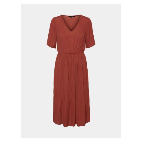 Brązowa sukienka midi z plisowaną spódnicą VERO MODA Mała