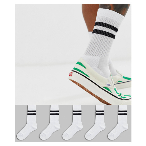 ASOS DESIGN 5 pack sport socks in white with black stripe save