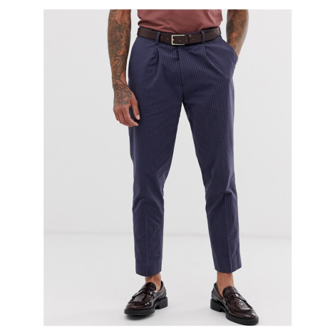 ASOS DESIGN wedding slim suit trousers in navy grid seer sucker