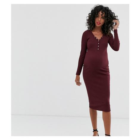 New Look Maternity long sleeve popper midi dress in burgundy