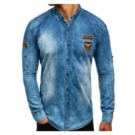 Koszula męska jeansowa z długim rękawem niebieska Denley 0992 MADMEXT