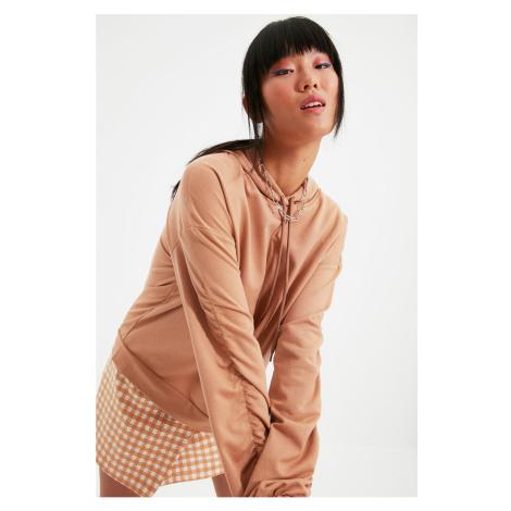 Trendyol Mink Ruffle Szczegółowa bluza z kapturem Basic Knitted