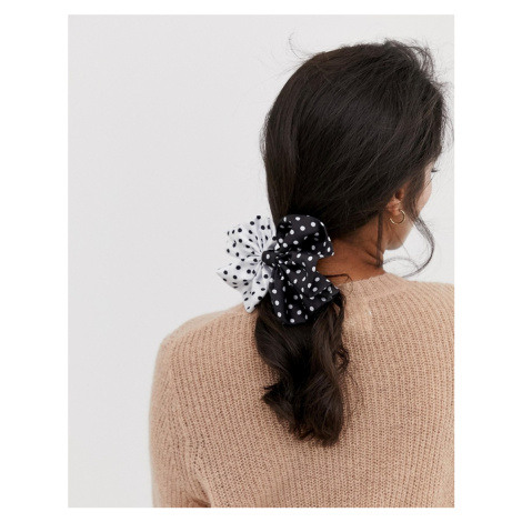 ASOS DESIGN hair tie with oversized bow in mixed polka dot