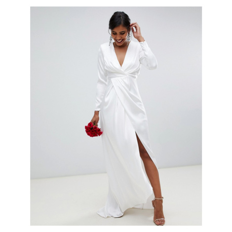 ASOS EDITION pleated plunge wrap wedding dress in satin