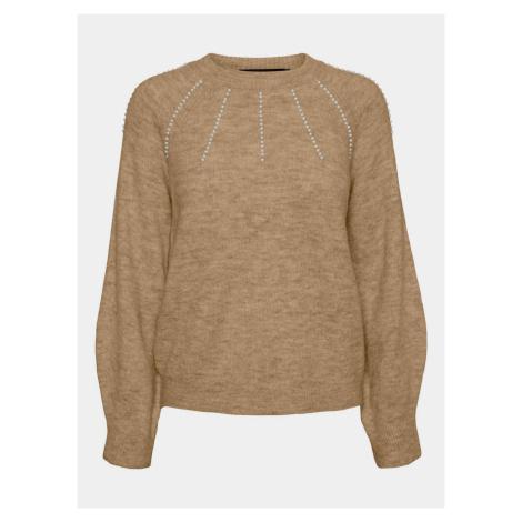 Jasnobrązowy sweter VERO MODA Peppy