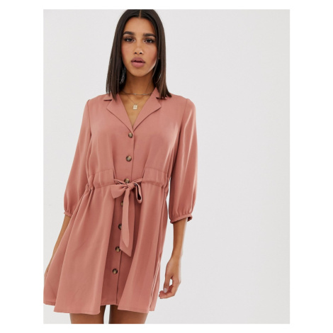 ASOS DESIGN button through mini shirt dress with ruched waist