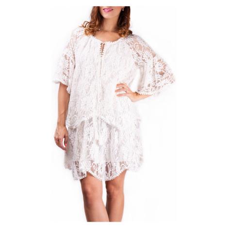 Simpo biała damska sukienka koronkowa Lace Up /M