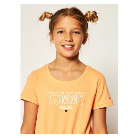 Tommy Hilfiger Sukienka codzienna Jersey KG0KG05158 M Pomarańczowy Regular Fit