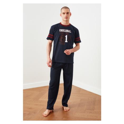 Trendyol Navy Blue Knitted Pajamas Set