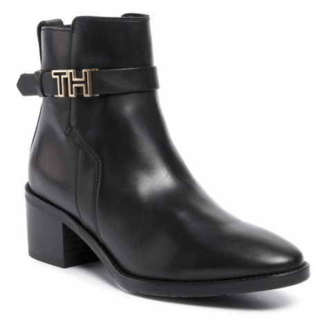 TOMMY HILFIGER Botki Th Hardware Leather Mid Bootie FW0FW04286 Czarny