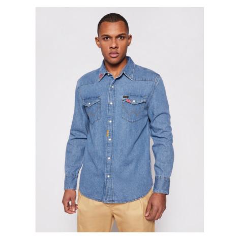 Wrangler Koszula 27Mw W5MSLW87A Niebieski Regular Fit