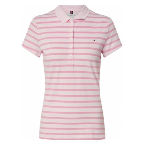 TOMMY HILFIGER Koszulka 'SHORT SLEEVE SLIM POLO STRIPE' biały / różowy pudrowy