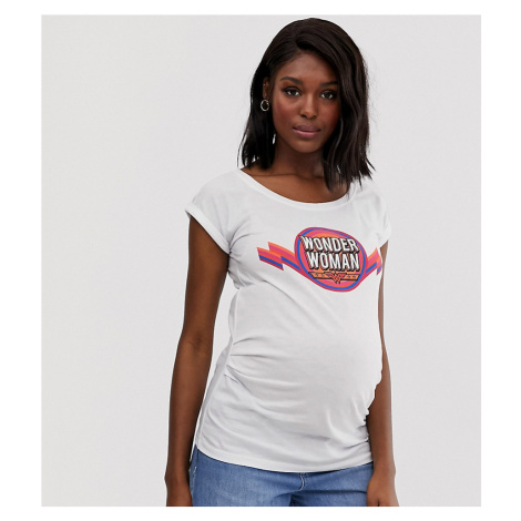 New Look Maternity wonder woman slogan tee in white