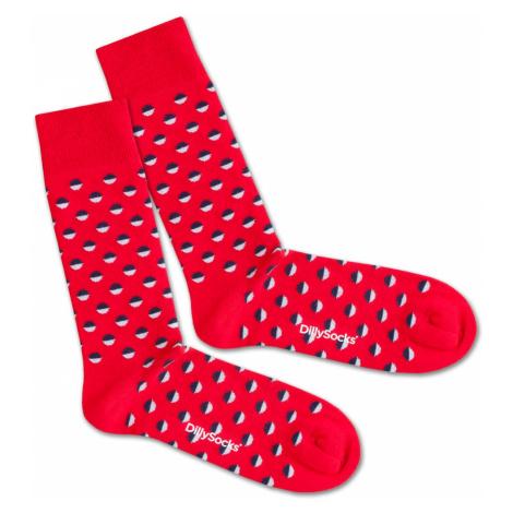 DillySocks Skarpety 'Red Boccia Field' niebieski / czerwony / biały