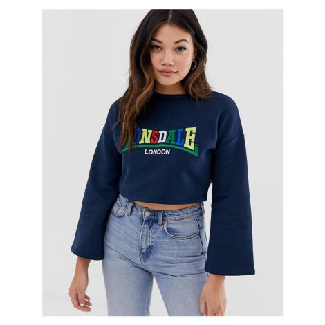 Lonsdale logo cropped sweater in navy