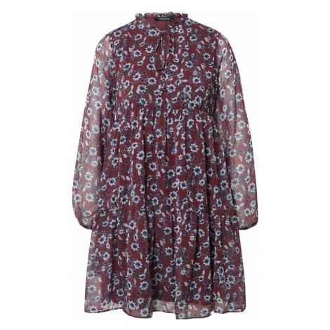 Trendyol Sukienka koszulowa czerwone wino / biały / czarny / podpalany niebieski