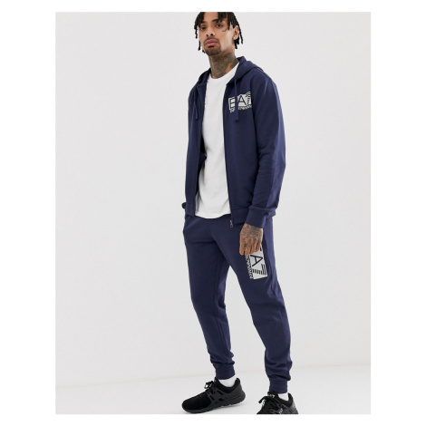 EA7 french terry hooded logo tracksuit in navy Armani