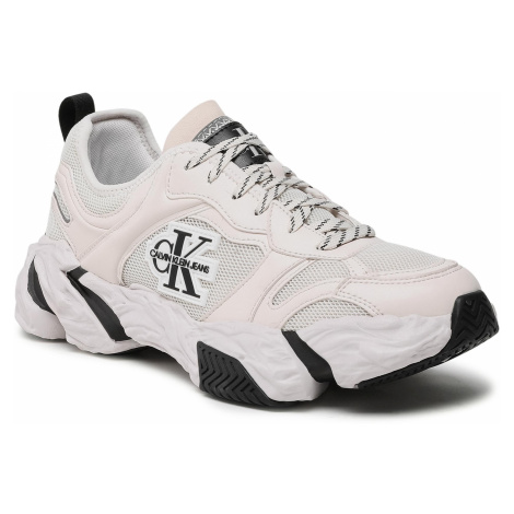 Sneakersy CALVIN KLEIN JEANS - Chunky Sole Laceup Pu-Ny YM0YM00050 White Sand PGA