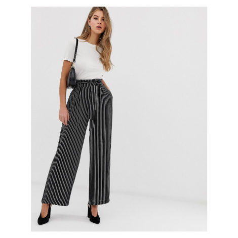 QED London stripe belted palazzo trousers