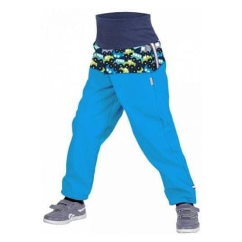Unuo Chłopięce spodnie softshell z polarem z autami SLIM niebieski