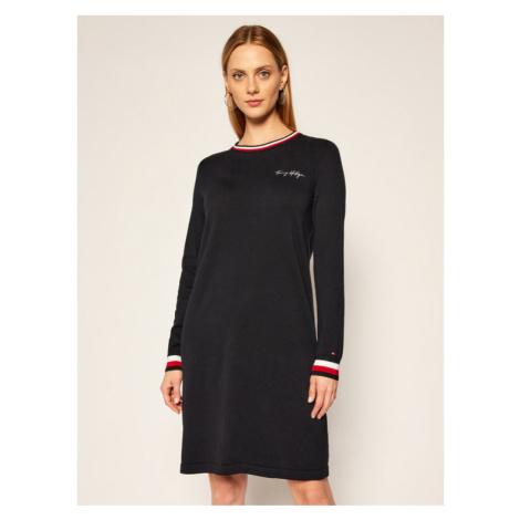 TOMMY HILFIGER Sukienka dzianinowa Trim Detail C-Nk WW0WW29377 Granatowy Regular Fit