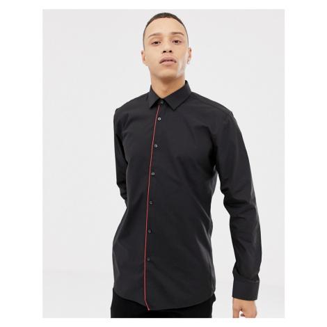 HUGO Esmo extra slim fit contrast placket shirt in black Hugo Boss