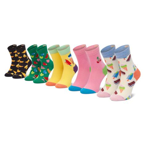 Zestaw 5 par wysokich skarpet dziecięcych HAPPY SOCKS - XKICF44-0200 Kolorowy
