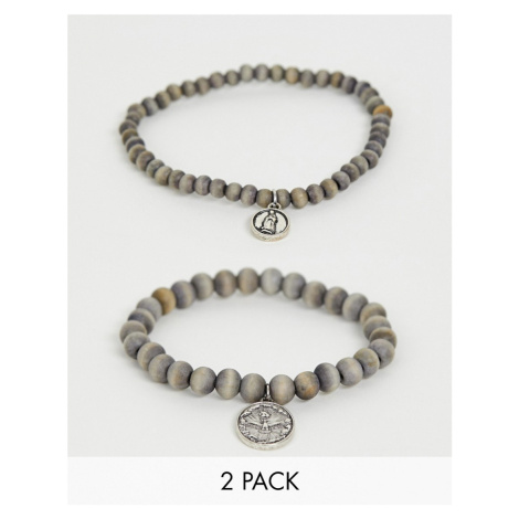 Icon Brand silver beaded bracelets in 2 pack