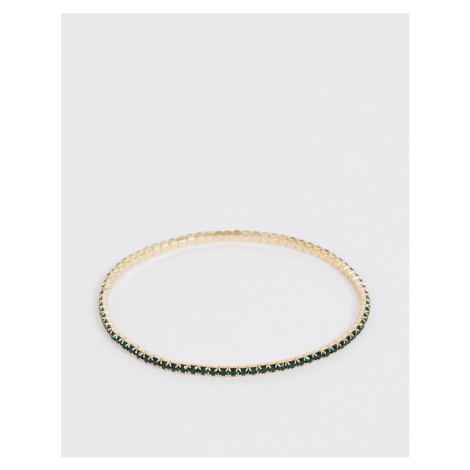 ASOS DESIGN stretch bracelet with green crystal in gold tone