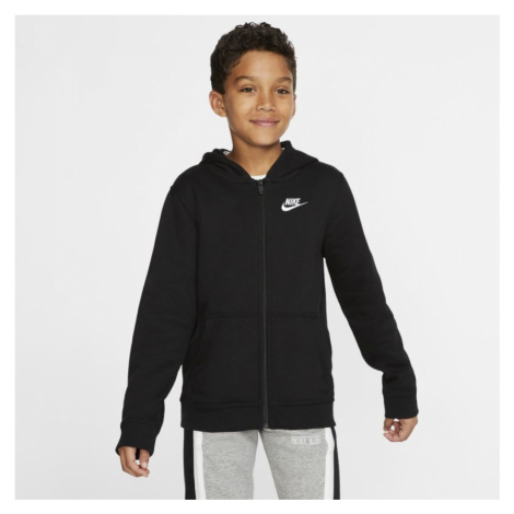 Bluza z kapturem i zamkiem na całej długości dla dużych dzieci Nike Sportswear Club - Czerń