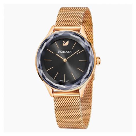 Zegarek Octea Nova, bransoleta Milanese, czarny, powłoka PVD w odcieniu różowego złota Swarovski