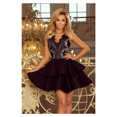 200-3 CHARLOTTE - ekskluzywna sukienka z koronkowym dekoltem - CZARNA NUMOCO