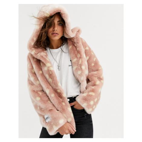 Jakke relaxed crop jacket with hood in faux fur fawn print