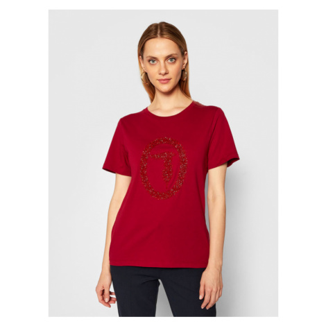 Trussardi Jeans T-Shirt 56T00277 Bordowy Regular Fit