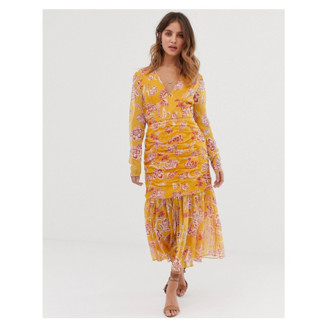 Stevie May Flourishing midi dress with ruched detail and pleated hem