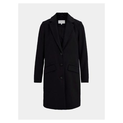 Czarny płaszcz z wełną VILA Leovita