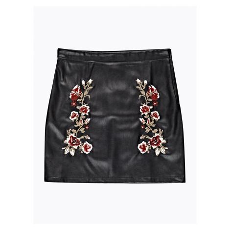 GATE Spódnica mini z imitacji skóry z haftem w kwiaty