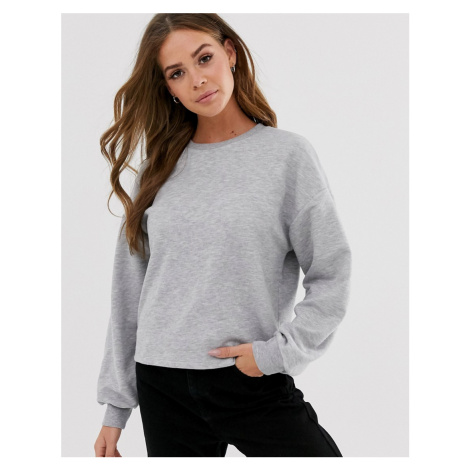Pull&Bear basic sweat top in grey Pull & Bear
