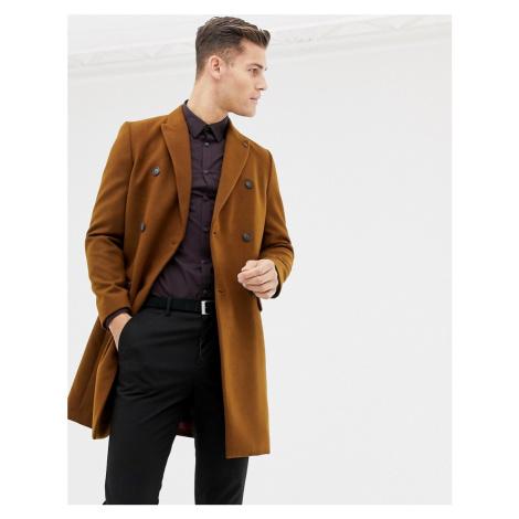 Burton Menswear double breasted coat in brown