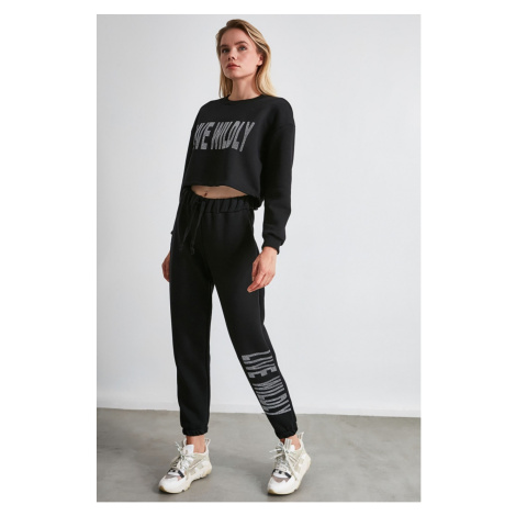Trendyol Black Printed Loose Jogger Knitted Tracksuit bottom