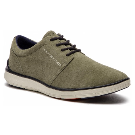 Półbuty TOMMY HILFIGER - Lightweight City Suede Shoe FM0FM01610 Dusty Olive 011