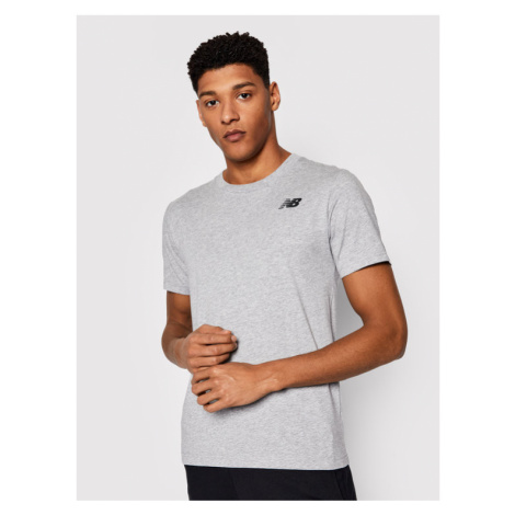 New Balance T-Shirt Classic Arch NBMT1198 Szary Slim Fit