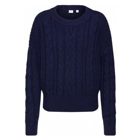 GAP Sweter 'SLOUCHY CABLE CREW' niebieska noc