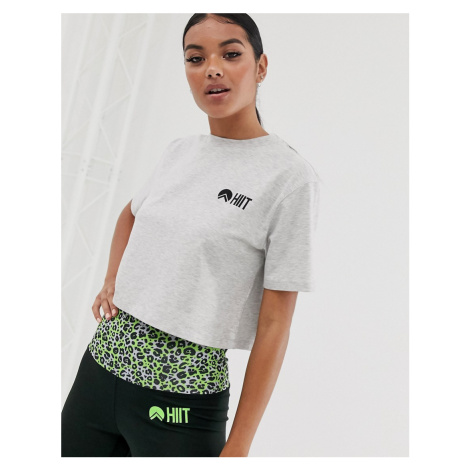 HIIT cropped t-shirt with back taping in grey