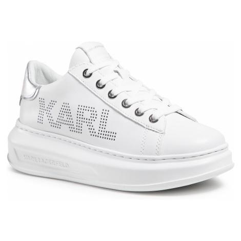 Sneakersy KARL LAGERFELD - KL62520 White Lthr W/Silver
