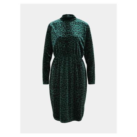 Ciemnozielona aksamitna sukienka w panterkę VILA Linao