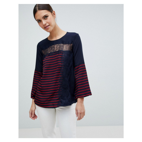 French Connection Isabella Mix Stripe and Lace Top